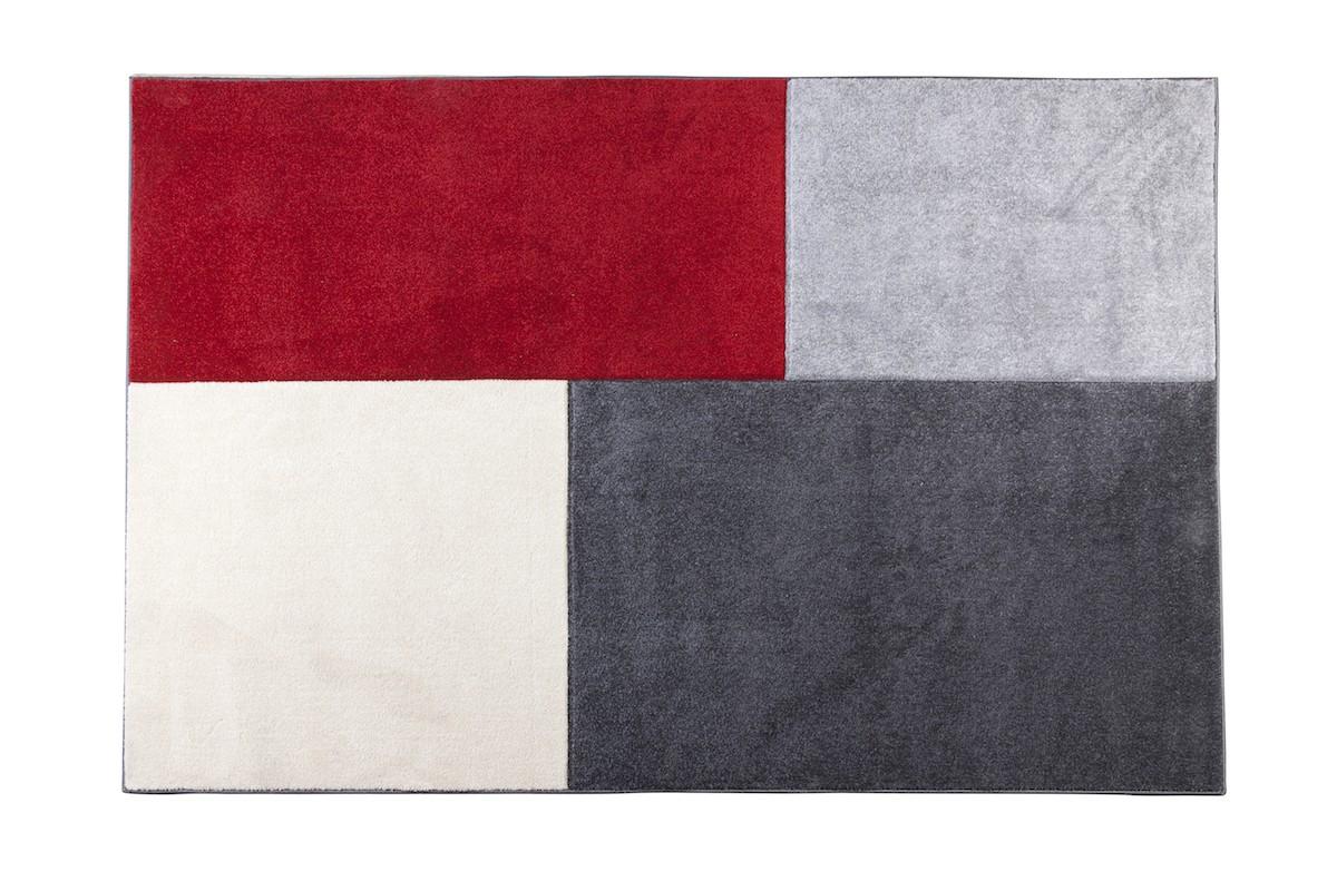 שטיח מלבנים גדולים אדום אפור