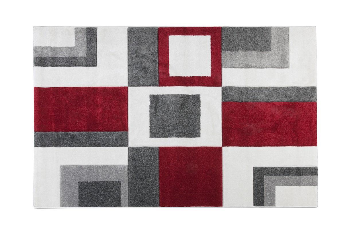 שטיח מרובעים אדום אפור