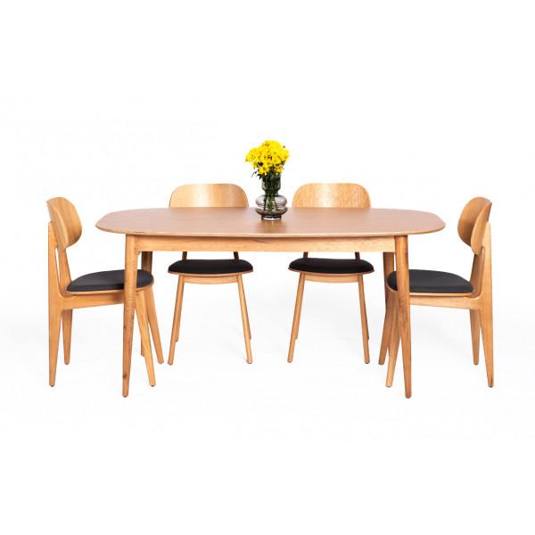 שולחן אוכל אליפסה וכיסא באני מרופד