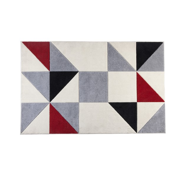 שטיח משולשים אדום אפור