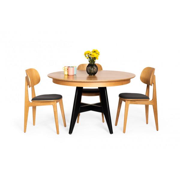 שולחן אוכל שביט וכיסאות באני מרופד