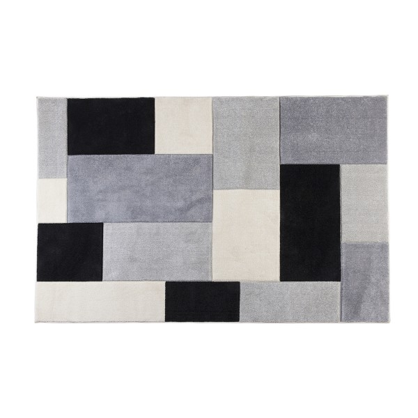 שטיח מרובעים אפור שחור
